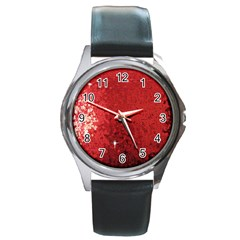 Sequin and Glitter Red Bling Black Leather Watch (Round)