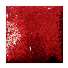 Sequin and Glitter Red Bling Ceramic Tile