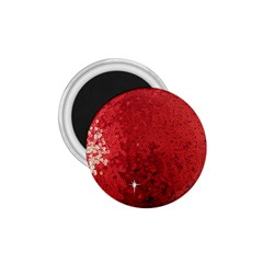 Sequin And Glitter Red Bling Small Magnet (round)