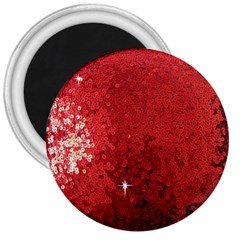 Sequin and Glitter Red Bling Large Magnet (Round)
