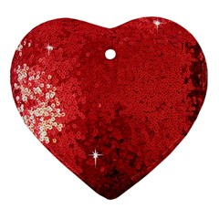 Sequin And Glitter Red Bling Ceramic Ornament (heart)