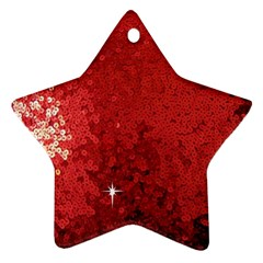 Sequin and Glitter Red Bling Ceramic Ornament (Star)