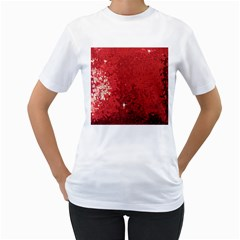 Sequin and Glitter Red Bling White Womens  T-shirt