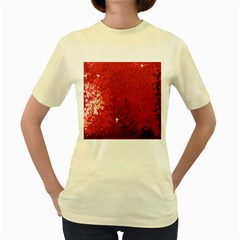 Sequin and Glitter Red Bling Yellow Womens  T-shirt