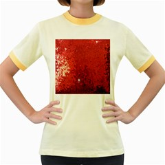 Sequin And Glitter Red Bling Colored Ringer Womens  T Shirt