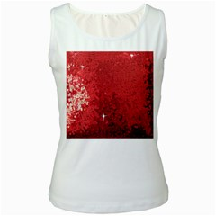 Sequin and Glitter Red Bling White Womens  Tank Top