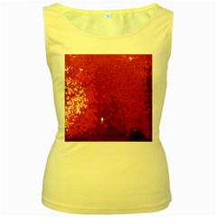 Sequin And Glitter Red Bling Yellow Womens  Tank Top