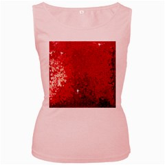 Sequin and Glitter Red Bling Pink Womens  Tank Top