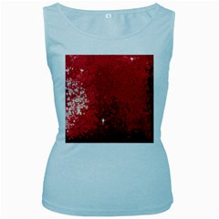 Sequin And Glitter Red Bling Baby Blue Womens  Tank Top