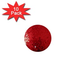 Sequin And Glitter Red Bling 10 Pack Mini Button (round)