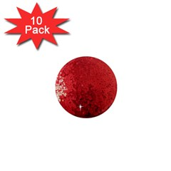 Sequin and Glitter Red Bling 10 Pack Mini Magnet (Round)