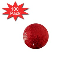 Sequin And Glitter Red Bling 100 Pack Mini Magnet (round)