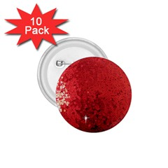 Sequin and Glitter Red Bling 10 Pack Small Button (Round)