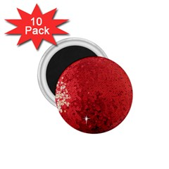Sequin and Glitter Red Bling 10 Pack Small Magnet (Round)