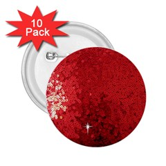 Sequin and Glitter Red Bling 10 Pack Regular Button (Round)