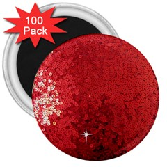 Sequin And Glitter Red Bling 100 Pack Large Magnet (round)