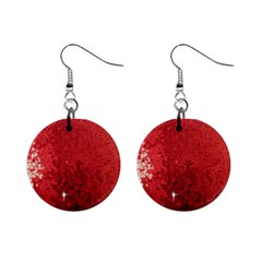 Sequin And Glitter Red Bling Mini Button Earrings