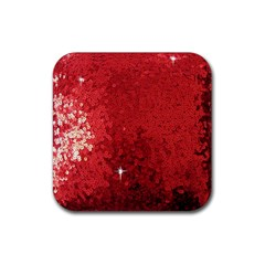 Sequin and Glitter Red Bling 4 Pack Rubber Drinks Coaster (Square)