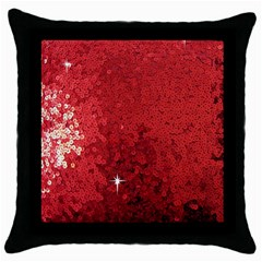 Sequin and Glitter Red Bling Black Throw Pillow Case