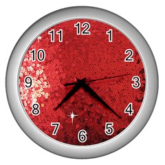 Sequin And Glitter Red Bling Silver Wall Clock