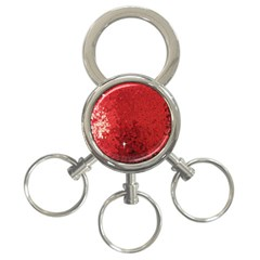 Sequin And Glitter Red Bling 3 Ring Key Chain