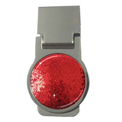 Sequin and Glitter Red Bling Money Clip (Round)