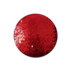 Sequin and Glitter Red Bling 4 Pack Rubber Drinks Coaster (Round)