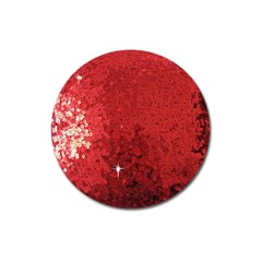 Sequin And Glitter Red Bling Large Sticker Magnet (round)