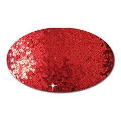 Sequin and Glitter Red Bling Large Sticker Magnet (Oval)
