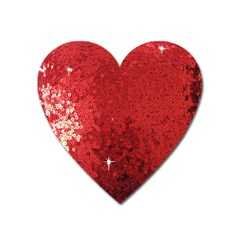 Sequin And Glitter Red Bling Large Sticker Magnet (heart)