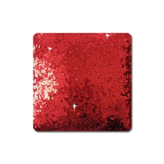 Sequin and Glitter Red Bling Large Sticker Magnet (Square)