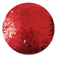 Sequin and Glitter Red Bling Extra Large Sticker Magnet (Round)