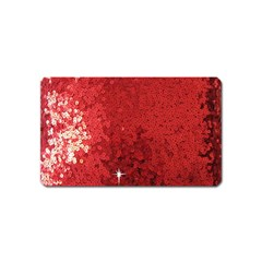 Sequin and Glitter Red Bling Name Card Sticker Magnet