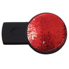 Sequin and Glitter Red Bling 1Gb USB Flash Drive (Round)