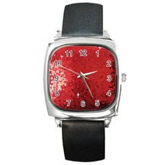 Sequin And Glitter Red Bling Black Leather Watch (square)
