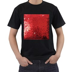 Sequin And Glitter Red Bling Twin Sided Black Mens'' T Shirt