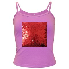 Sequin And Glitter Red Bling Dark Colored Spaghetti Top