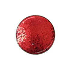 Sequin And Glitter Red Bling Golf Ball Marker (for Hat Clip)