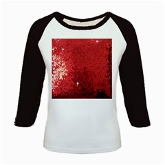 Sequin and Glitter Red Bling Long Sleeve Raglan Womens'' T-shirt