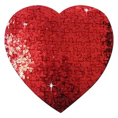 Sequin And Glitter Red Bling Jigsaw Puzzle (heart)