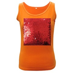 Sequin and Glitter Red Bling Dark Colored Womens'' Tank Top