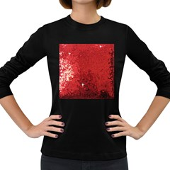 Sequin And Glitter Red Bling Dark Colored Long Sleeve Womens'' T Shirt