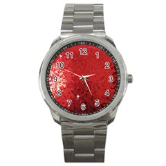 Sequin and Glitter Red Bling Stainless Steel Sports Watch (Round)