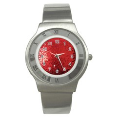 Sequin and Glitter Red Bling Stainless Steel Watch (Round)