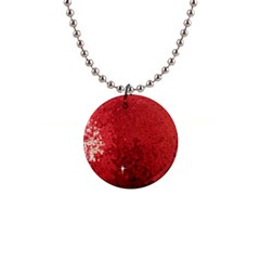 Sequin and Glitter Red Bling Mini Button Necklace