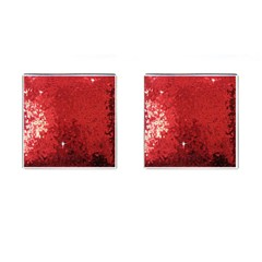 Sequin and Glitter Red Bling Square Cuff Links
