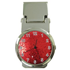 Sequin And Glitter Red Bling Chrome Money Clip With Watch