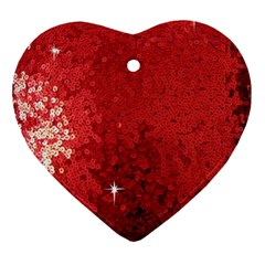 Sequin and Glitter Red Bling Heart Ornament (Two Sides)