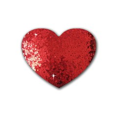 Sequin And Glitter Red Bling Rubber Drinks Coaster (heart)