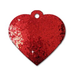 Sequin and Glitter Red Bling Single-sided Dog Tag (Heart)